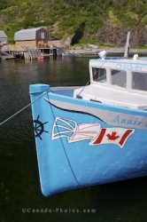 Blue Fishing Boat Trout River Harbour Newfoundland Canada