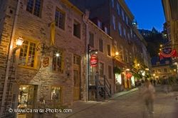 Blue Hour Lights Old Quebec Canada