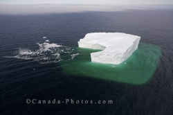 Breaking Iceberg Aerial Southern Labrador