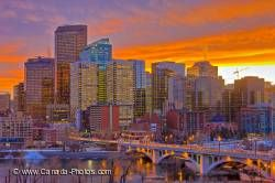 Calgary City Skyline Sunset Alberta