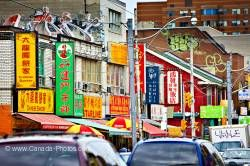 Street signs in Chinatown in city of Toronto Ontario Canada