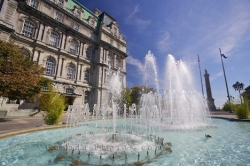 City Hall Place Vauquelin Fountain Montreal
