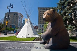 City Hall Pondering Grizzly Bear Statue Winnipeg Manitoba