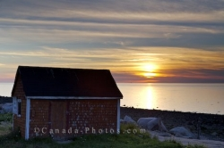 Delaps Cove Beach Shed Sunset Bay Of Fundy Nova Scotia