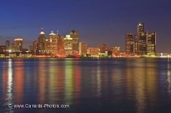 Detroit Michigan Illuminated Dusk Skyline Picture