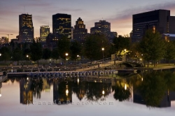Downtown Montreal Sunset Reflections Quebec Canada
