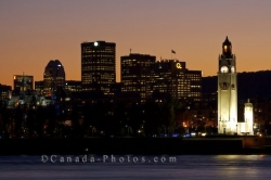 Downtown Montreal Sunset Skyline St Lawrence River Quebec