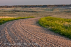 Frenchman River Valley Gravel Road Saskatchewan Canada
