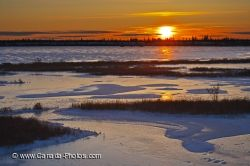 Frozen Lake Sunset Churchill Manitoba