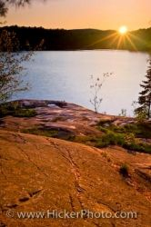 George Lake Sunset Scenery Killarney Provincial Park Ontario