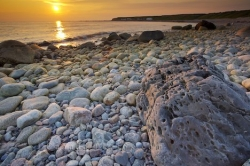 Green Point Sunset Rocky Shoreline Gros Morne National Park Newfoundland