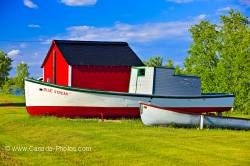 Hecla Village Red Shed With Boats Lake Winnipeg Manitoba