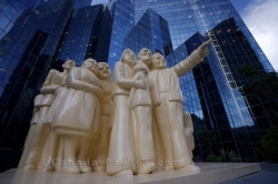 Illuminated Crowd Statue Downtown Montreal
