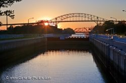 International Bridge Sunset Sault Ste Marie