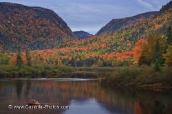 Jacques Cartier River Fall Sunset Scenery Quebec Canada