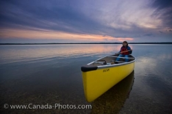 Lake Audy Sunset Woman Canoeing Riding Mountain National Park