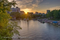 Marina Sunset Assiniboine River Winnipeg City Manitoba