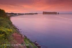 Perce Rock Coastal Sunset Gaspesie Peninsula Quebec