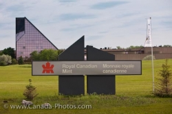 Royal Canadian Mint Building Sign Winnipeg City Manitoba
