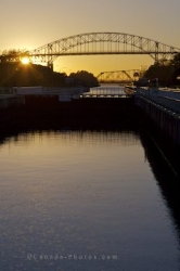 St Marys River International Bridge Sunset Soo Locks Ontario