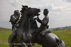 Statue Mounted Police And Indian Fort Walsh