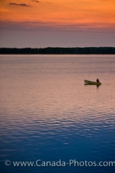 Sunset Canoeist Lake Audy Riding Mountain National Park Manitoba
