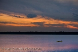 Sunset Canoeist Lake Audy Riding Mountain National Park