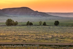 Sunset Farmland Road Big Muddy Badlands Southern Saskatchewan