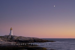 Sunset Moon Peggys Cove Lighthouse Nova Scotia Canada