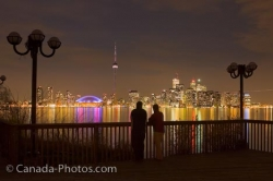 Toronto City Romantic Night Skyline Centre Island Ontario