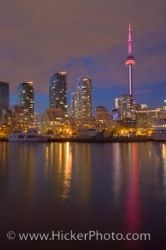 Toronto City Skyline Night Reflections Lake Ontario