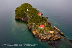 Aerial Trowbridge Island Lighthouse Lake Superior