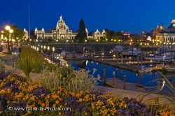 Parliament Building Victoria Harbor Twilight Photo