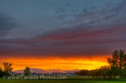 Winnipeg City Prairie Landscape Sunset Manitoba Canada