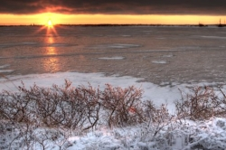 Winter Lake Sunset Hudson Bay Manitoba