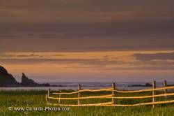 Wooden Fence Coastline Sunset Newfoundland