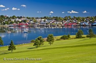 The historic scenery of the town of Lunenburg, Nova Scotia is beautiful from many of the different holes on the Bluenose Golf Course.