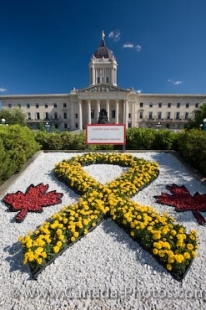 A red and yellow garden blooming outside the Legislative Building in the City of Winnipeg, Manitoba is dedicated to supporting the Canadian Troops who have gone overseas.