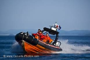 Used to get somewhere fast, the Coast Guard 508 unit use a high speed zodiac boat in order to reach boats in distress quickly or to patrol Canada's coastline.