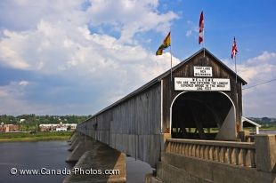 The Hartland Covered Bridge in Hartland, along the Saint John river, New Brunswick is a historic landmark that opened in 1901 to make travel easier across the river.
