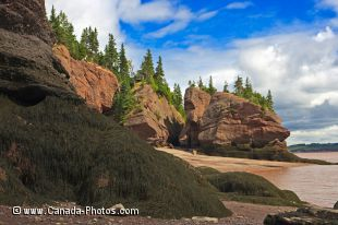 The changing rock formations of Hopewell Rocks at low tide along the coastal shores of Hopewell Rocks Provincial Park in New Brunswick, Canada.