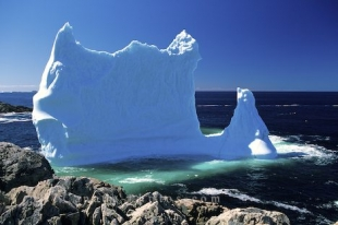 Huge icebergs close to Twillingate drifting in the Notre Dame Bay in Newfoundland, Canada.