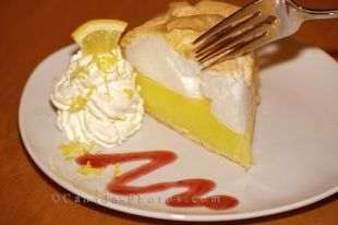 After a gourmet meal at the Tuckamore Lodge in Main Brook, Newfoundland one can enjoy a fabulous piece of Lemon Meringue Pie.