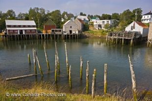 Buildings on stilts sit along the waterfront of Seal Cove Harbour in New Brunswick, Canada with houses set back on the landscape.
