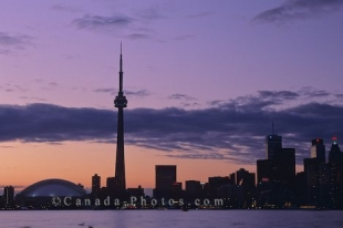 The peacefulness at sunrise surrounds the fast paced city of Toronto, Ontario in Canada.