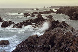 The coastline of Notre Dame Bay near Twillingate, Newfoundland is very rugged as the ocean waves crash against the large rocks.