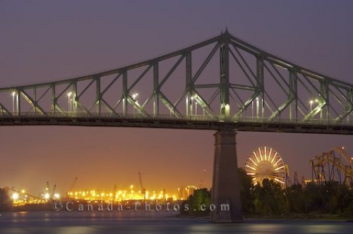 Photo: La Ronde Amusement Park Jacques Cartier Bridge Montreal