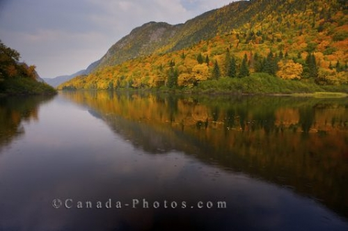 Photo: Autumn Hillside Reflections Jacques Cartier River Quebec