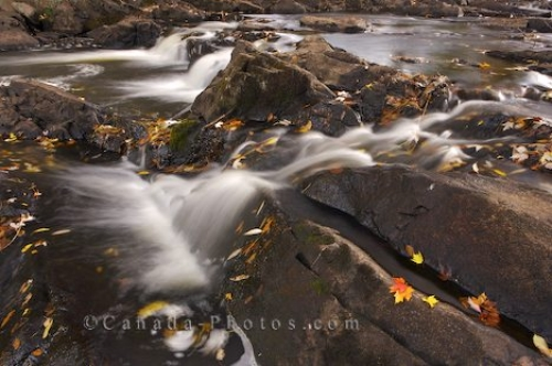 Photo: Autumn Leaves Waterfall Restoule River Ontario