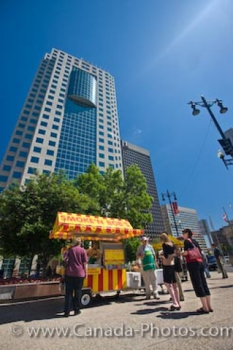 Photo: Canwest Global Place Hot Dog Stand Winnipeg City Manitoba